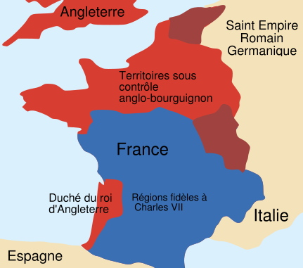 Etat  schématique de la France en 1435