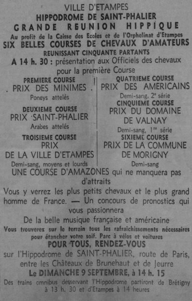 Journal d'Etampes du 8 septembre 1945 annonçant la course